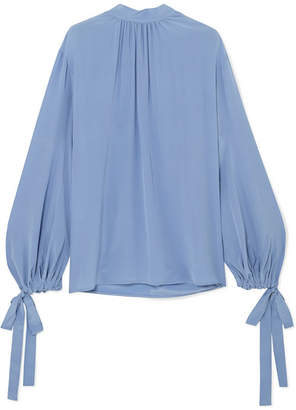 Prada Gathered Silk Crepe De Chine Blouse Blue