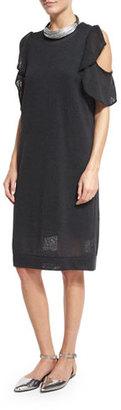 Brunello Cucinelli Paillette Ruffled Cold-Shoulder Dress, Dark Gray $1,995 thestylecure.com