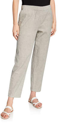 Eileen Fisher Plus Size Ticking Stripe Tapered Pull-On Ankle Pants