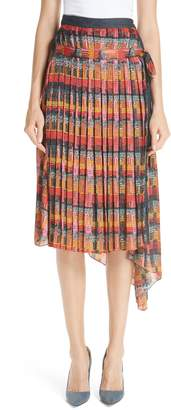 ADAM by Adam Lippes Print Satin Chiffon Pleated Skirt
