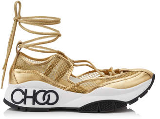 Jimmy Choo MICHIGAN Metallic Mesh and Gold Patent Nappa Leather Trainer with Espadrille Straps