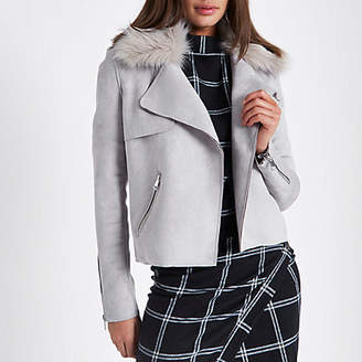 River Island Grey faux fur collar suede trench jacket