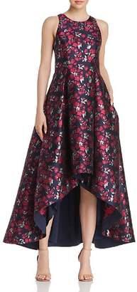 Aidan Mattox Floral Jacquard High/Low Ball Gown