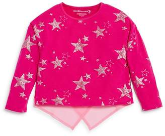 Design History Girls' Star-Print Top with Angled Back Hem - Little Kid