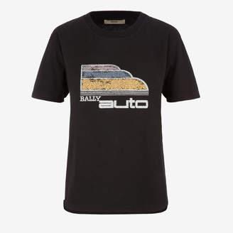 Bally Auto Print T-Shirt Black, Women's cotton jersey t-shirt in black