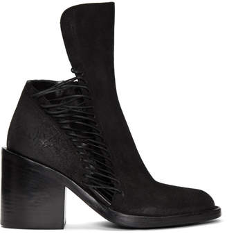 Ann Demeulemeester Black Suede Closer Lace-Up Boots