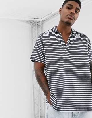 Asos Design DESIGN boxy fit shirt in navy horizontal stripe