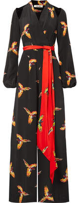 Diane von Furstenberg Cutout Belted Printed Silk Crepe De Chine Jumpsuit - Black