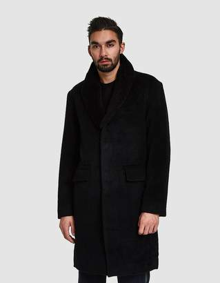 Maiden Noir Wool Overcoat w/ Removable Shearling Collar