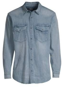 Nudie Jeans Green Paul Denim Button-Down Shirt