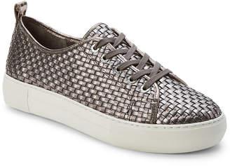 J/Slides Pewter Artsy Woven Leather Platform Sneakers