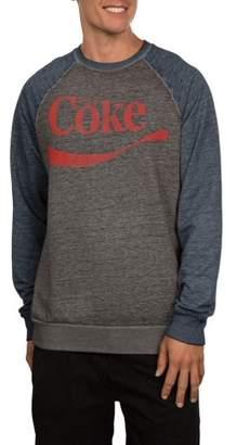 Food & Beverage Coke Logo Men's Graphic Crew Fleece, up to Size 2XL