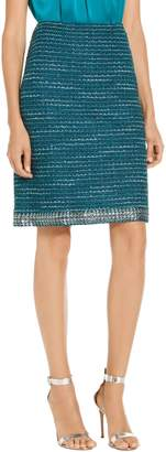St. John Sequin Sheen Tweed Knit A-Line Skirt