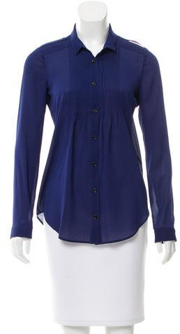 Burberry Pleated Long Sleeve Blouse