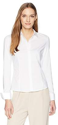 Calvin Klein Women's Long Sleeve Button Down Wrinkle Free Top