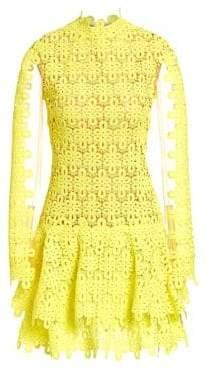 Jonathan Simkhai Women's Guipure Lace Mini Dress - Neon Yellow - Size 2