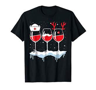Christmas Red Wine T-shirt Funny Santa Nurse Merry Xmas Gift