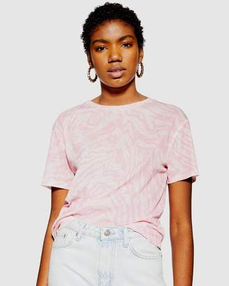 Topshop Abstract Animal Mesh T-Shirt
