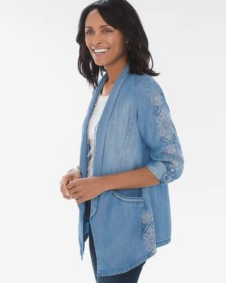 Embroidered Tencel Twill Blazer