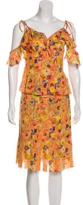 Chanel Printed Silk Skirt Set