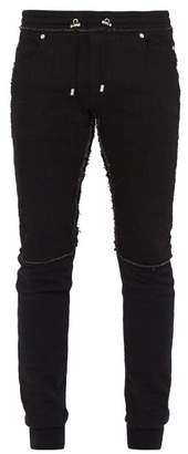 Balmain Raw Edge Denim Panel Cotton Track Pants - Mens - Black