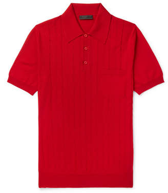 Prada Slim-Fit Laser-Cut Virgin Wool Polo Shirt