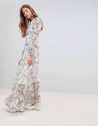 Glamorous Maxi Dress With Ruffle Layers In Blossom Floral