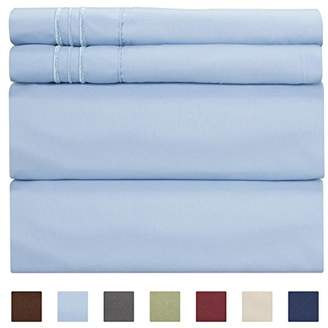 +Hotel by K-bros&Co Full Size Sheet Set - 4 Piece - Hotel Luxury Bed Sheets - Extra Soft - Deep Pockets - Easy Fit - Breathable & Cooling - Wrinkle Free - Comfy – Light Blue Bed Sheets– Baby Blue Fulls – 4 PC