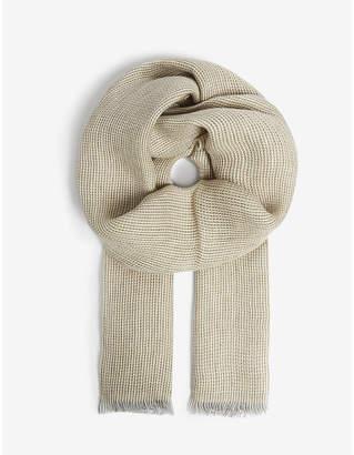 OSCAR JACOBSON Herringbone linen scarf