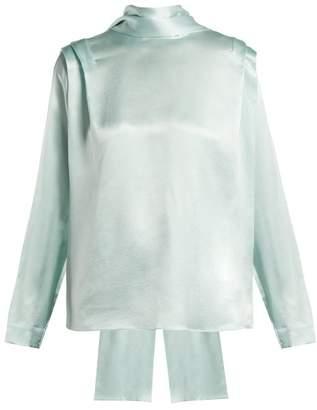 Roksanda Aulna Silk Satin Tie Neck Blouse - Womens - Green