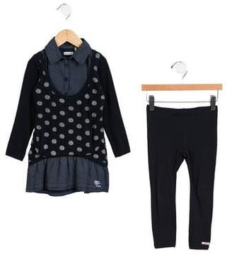 Ikks Girls' Polka Dot Dress Set