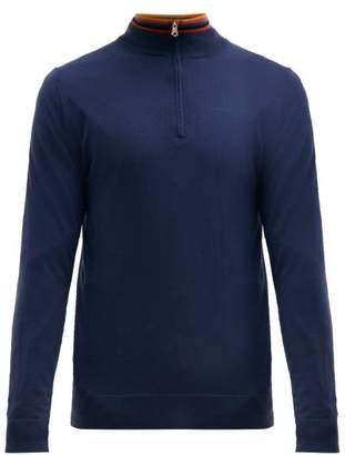 Paul Smith Artist Stripe Collar Half Zip Sweater - Mens - Blue