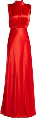 Saloni Fleur Tie Neck Silk Satin Gown - Womens - Red