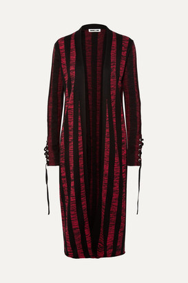 McQ Lace-up Striped Cotton Cardigan - Red