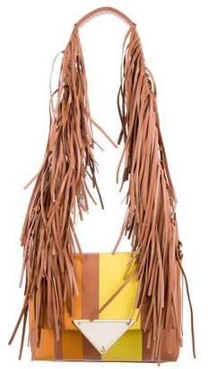 Sara Battaglia Striped Theresa Fringe Shoulder Bag