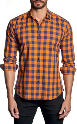 Jared Lang Men's Semi-Fitted Gingham Sport Shirt, Orange
