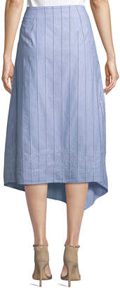 Donna Karan Striped Eyelet-Embroidered Cotton A-Line Skirt