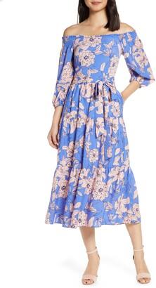 Eliza J Floral Off the Shoulder Midi Dress