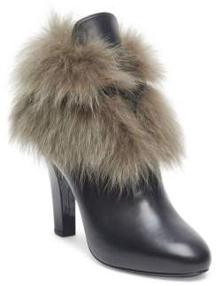 Lanvin Fox Fur Accented Leather Booties