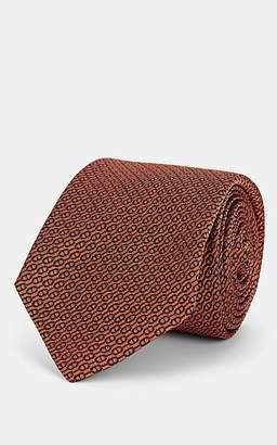 Barneys New York Men's Chain-Link-Pattern Silk Jacquard Necktie - Orange