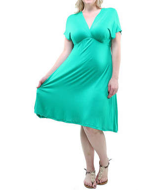 24/7 Comfort Apparel Empire Fit & Flare Dress-Plus