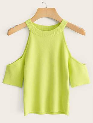 Shein Neon Lime Cold Shoulder Halter Knit Top