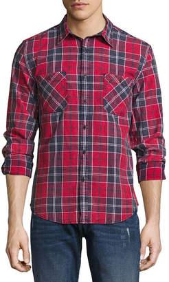 Decree Mens Long Sleeve Plaid Button-Front Shirt