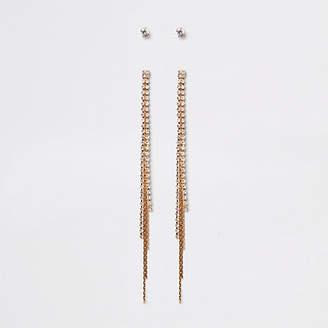 River Island Gold tone rhinestone tassel stud earrings pack