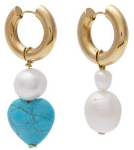 Timeless Pearly - Mismatched Pearl And Stone Drop Earrings - Womens - Blue