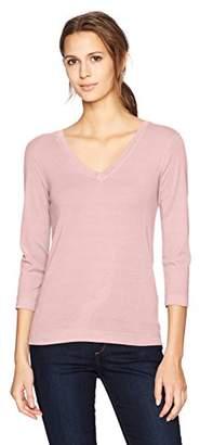 Three Dots Women's Heritage Rib 3/4 SLV Deep v-Neck Mid Shirt