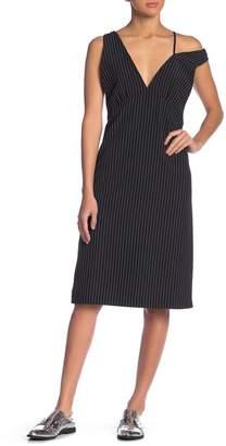 Grey Lab Pinstripe Deep V-Neck Dress