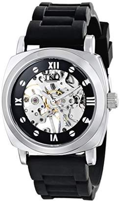 TKO ORLOGI Women's TK627BK See Through Mechanical Skeleton Hand with Black Rubber Band Watch