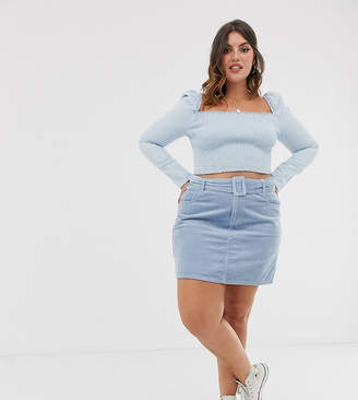 Urban Bliss Plus baby cord mini skirt with self belt