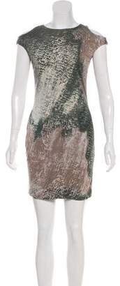 Yigal Azrouel Cut25 by Cold-Shoulder Printed Mini Dress